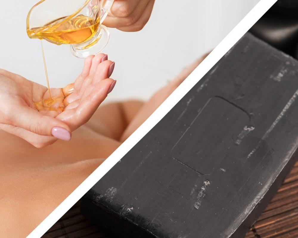huile d'amande douce et savon noir